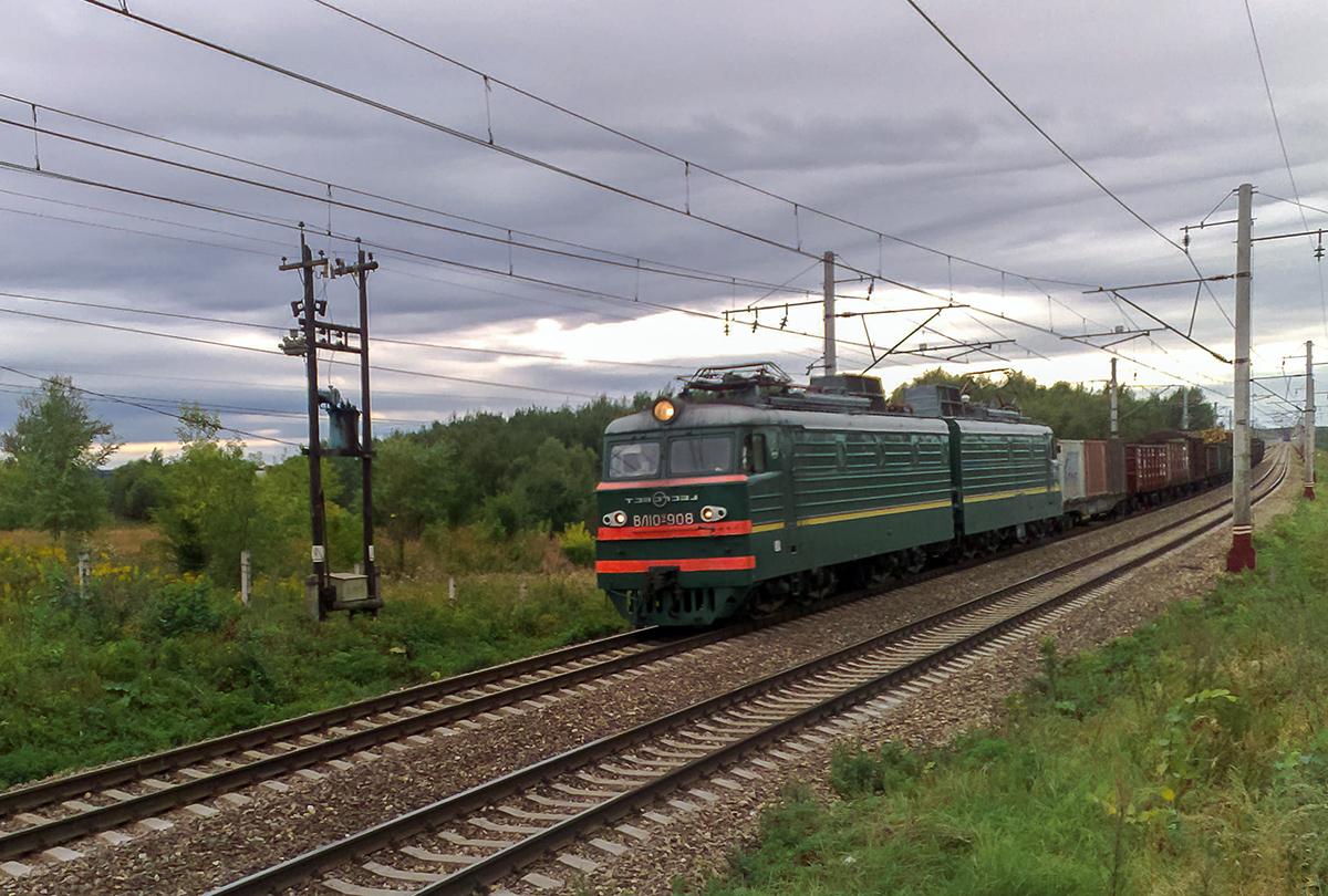 Электровоз ВЛ10У-908 с грузовым поездом, перегон Решетниково - Клин
