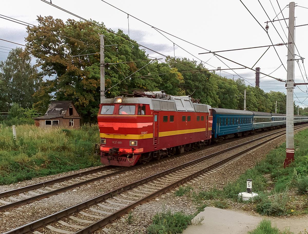 Электровоз ЧС2Т-981 с фирменным поездом Таллин Экспресс, перегон Клин - Решетниково