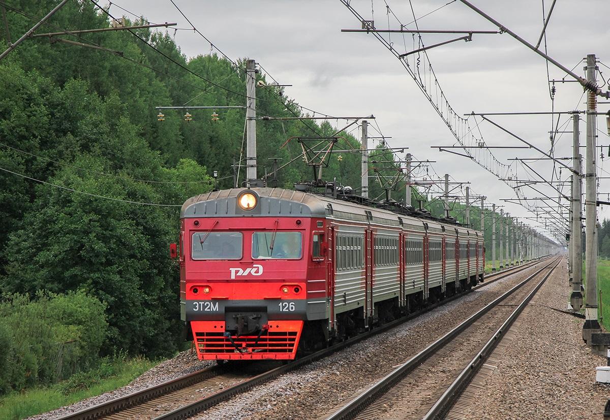 Электропоезд ЭТ2М-126 близ платформы Бабино-II, перегон Торфяное - Любань