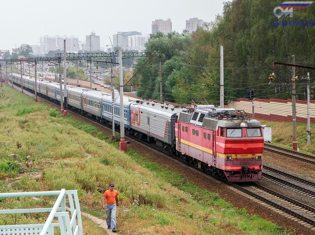 Электровоз ЧС2Т-1048 с вагонами фирменного поезда Аврора, перегон Москва-Товарная - Ховрино