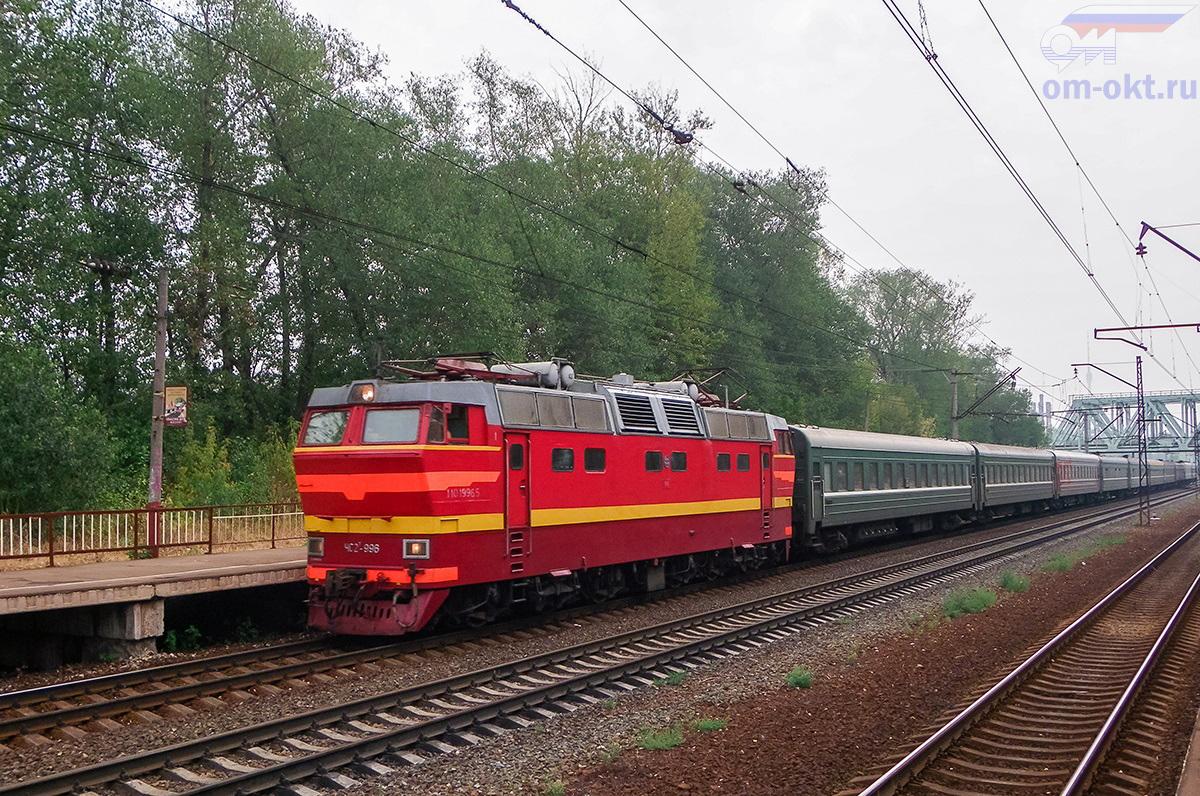 Электровоз ЧС2Т-996 с пассажирским поездом, перегон Москва-Товарная - Ховрино