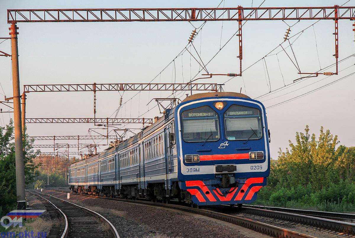 Электропоезд ЭД9М-0209, перегон Засимовка - Острогожск