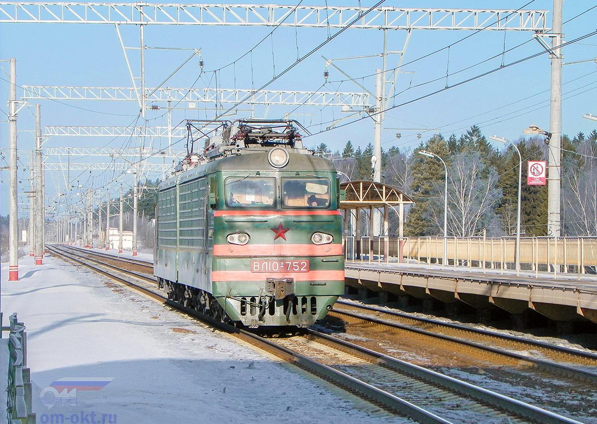 Электровоз ВЛ10У-752 проследует платформу Покровка, перегон Клин - Подсолнечная