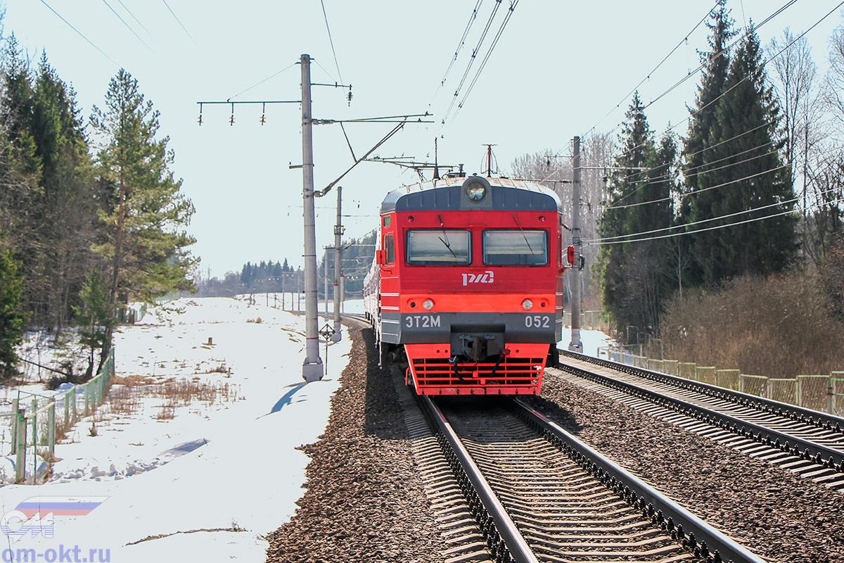 Электропоезд ЭТ2М-052 близ платформы Соболево, перегон Бушевец - Академическая