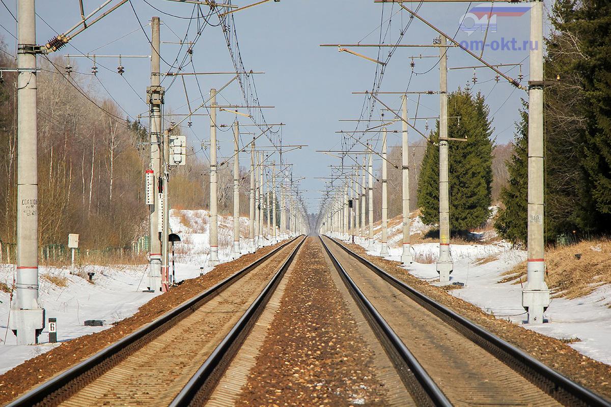 Вид от платформы Соболево в сторону станции Бушевец