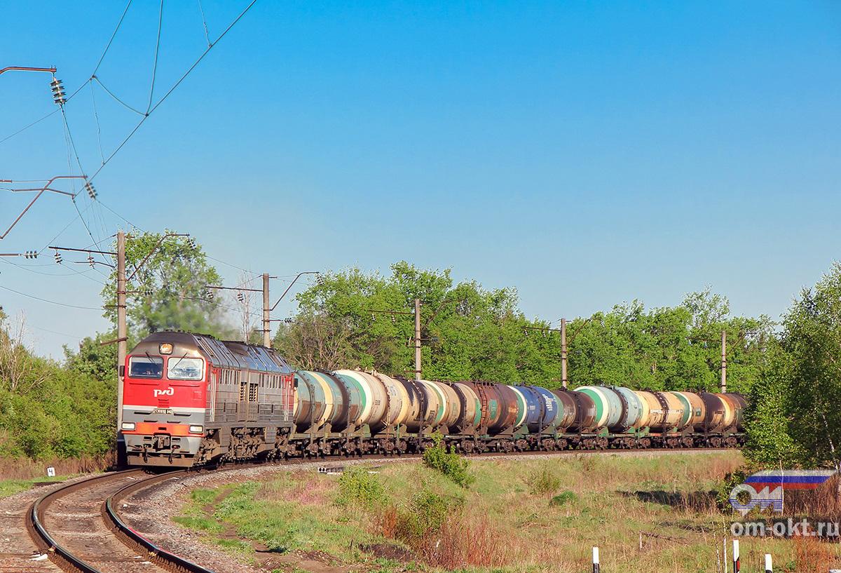 Тепловоз 2ТЭ116УД-040 с наливным поездом на перегоне Новки-II - блок-пост 243 км