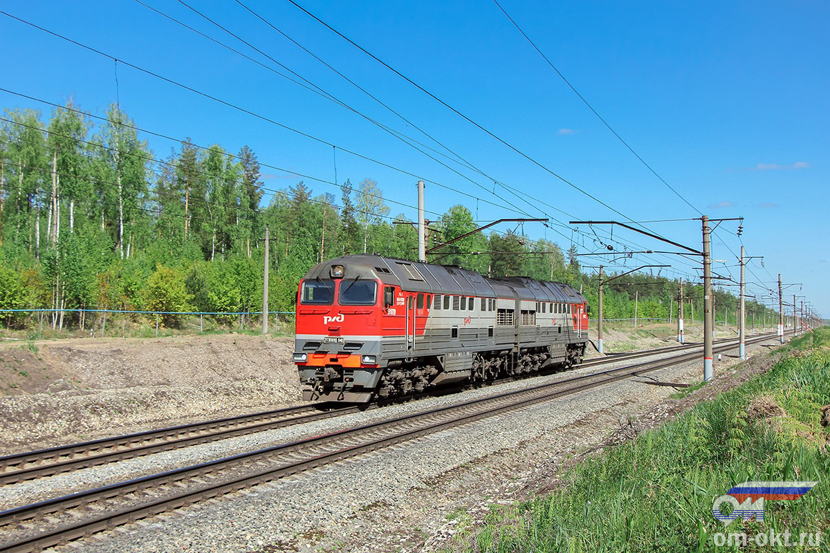 Тепловоз 2ТЭ116УД-040 на перегоне Федулово - блок-пост 243 км