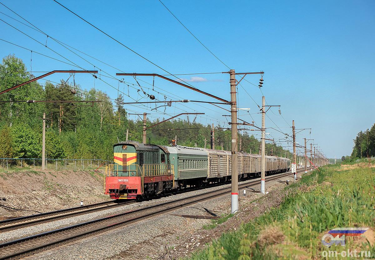 Тепловоз ЧМЭ3-2834 с поездом из рефсекций на перегоне Федулово - блок-пост 243 км