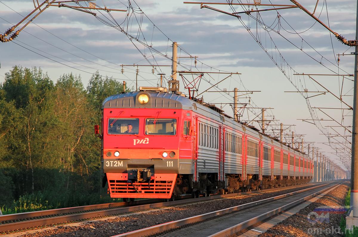 Электропоезд ЭТ2М-111 близ платформы Межево, перегон Тверь - Редкино