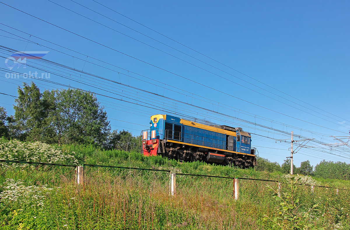 Тепловоз ТЭМ18Д-137 проследовал платформу Межево, перегон Редкино - Тверь