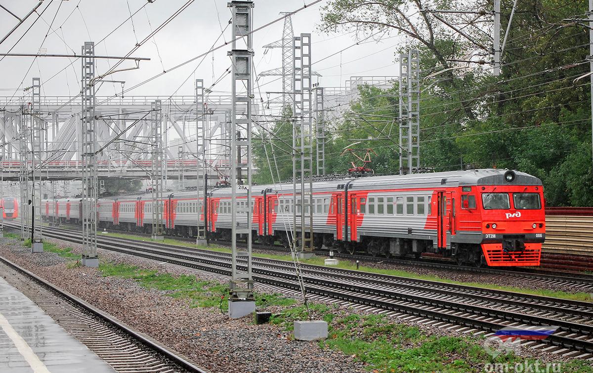 Электропоезд ЭТ2М-086 отправился от платформы НАТИ, перегон Ховрино - Москва-Товарная Октябрьская