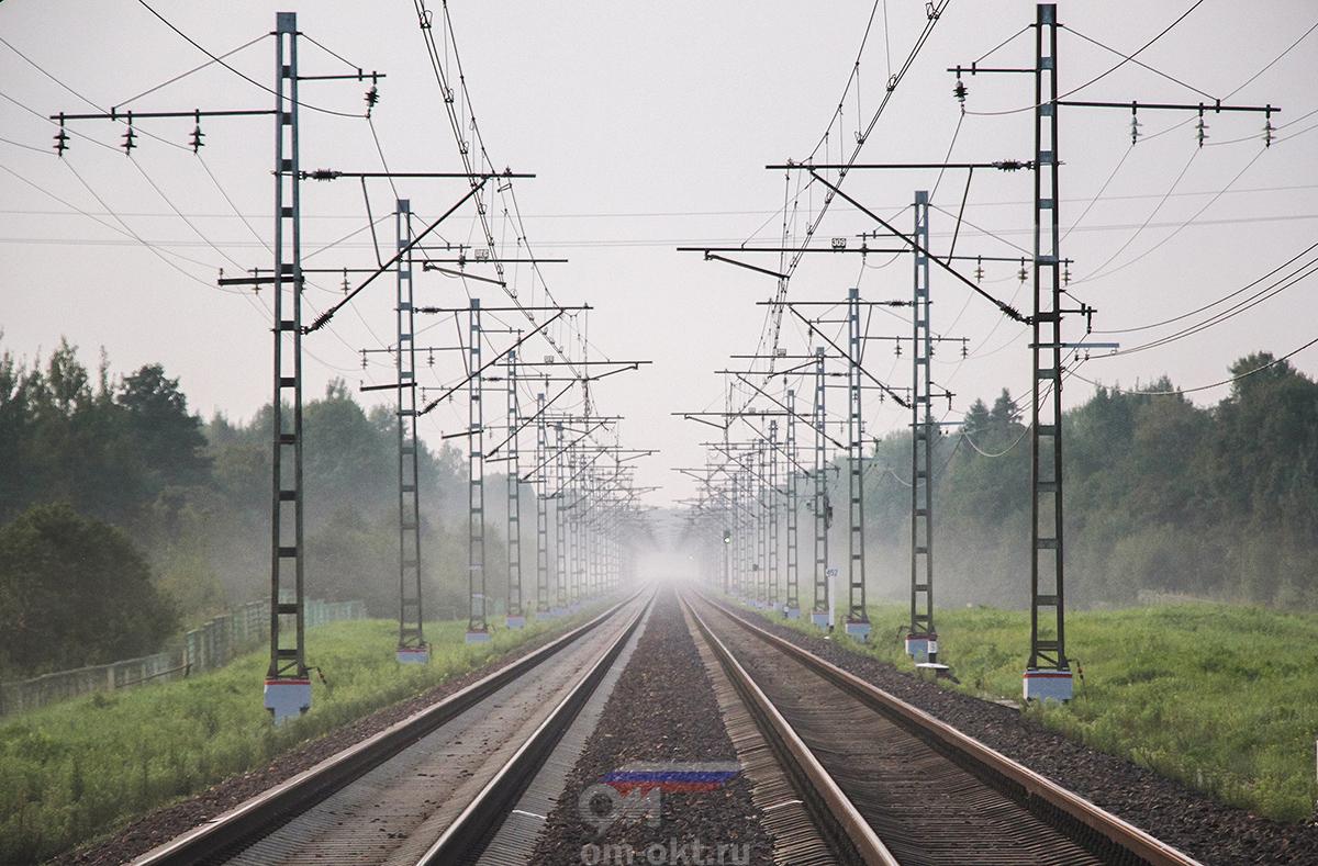 Вид от платформы Крючково в сторону платформы Трубино