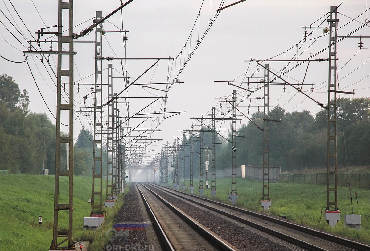 Вид от платформы Крючково в сторону платформы Поршинец