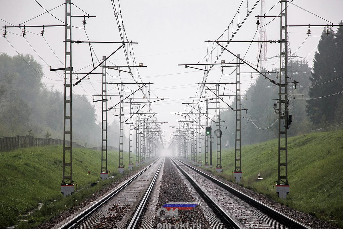 Вид от платформы Поршинец в сторону платформы Крючково