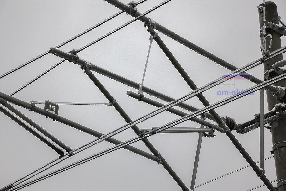 Обледенение контактного провода на перегоне Решетниково - Завидово
