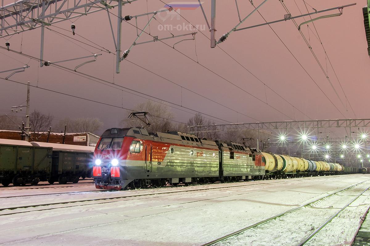 Электровоз 2ЭС4К-070 на станции Клин