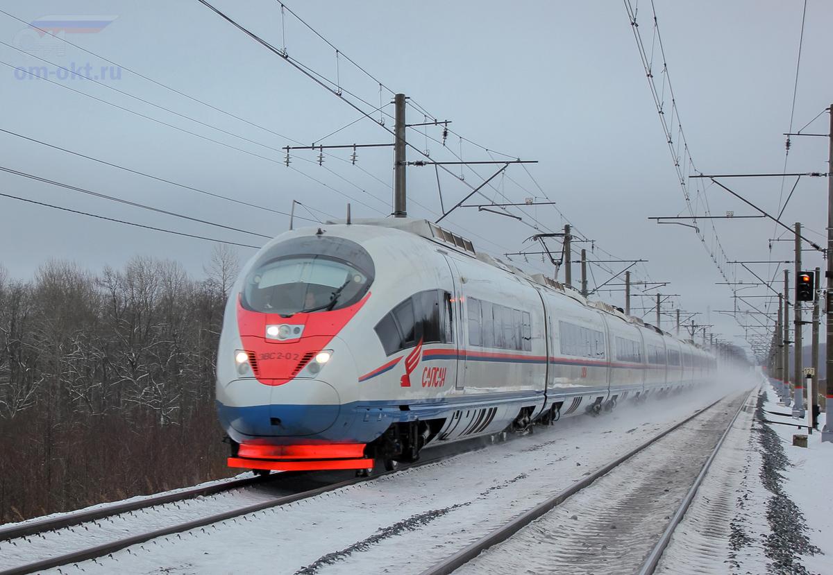 """Электропоезд ЭВС2-02 """"Сапсан"""", перегон Гряды - Чудово-Московское"""
