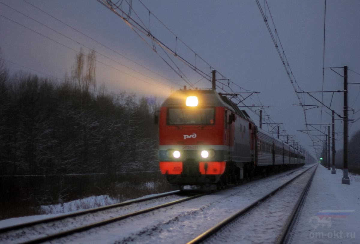 Электровоз ЭП2К-231 на перегоне Чудово-Московское - Гряды