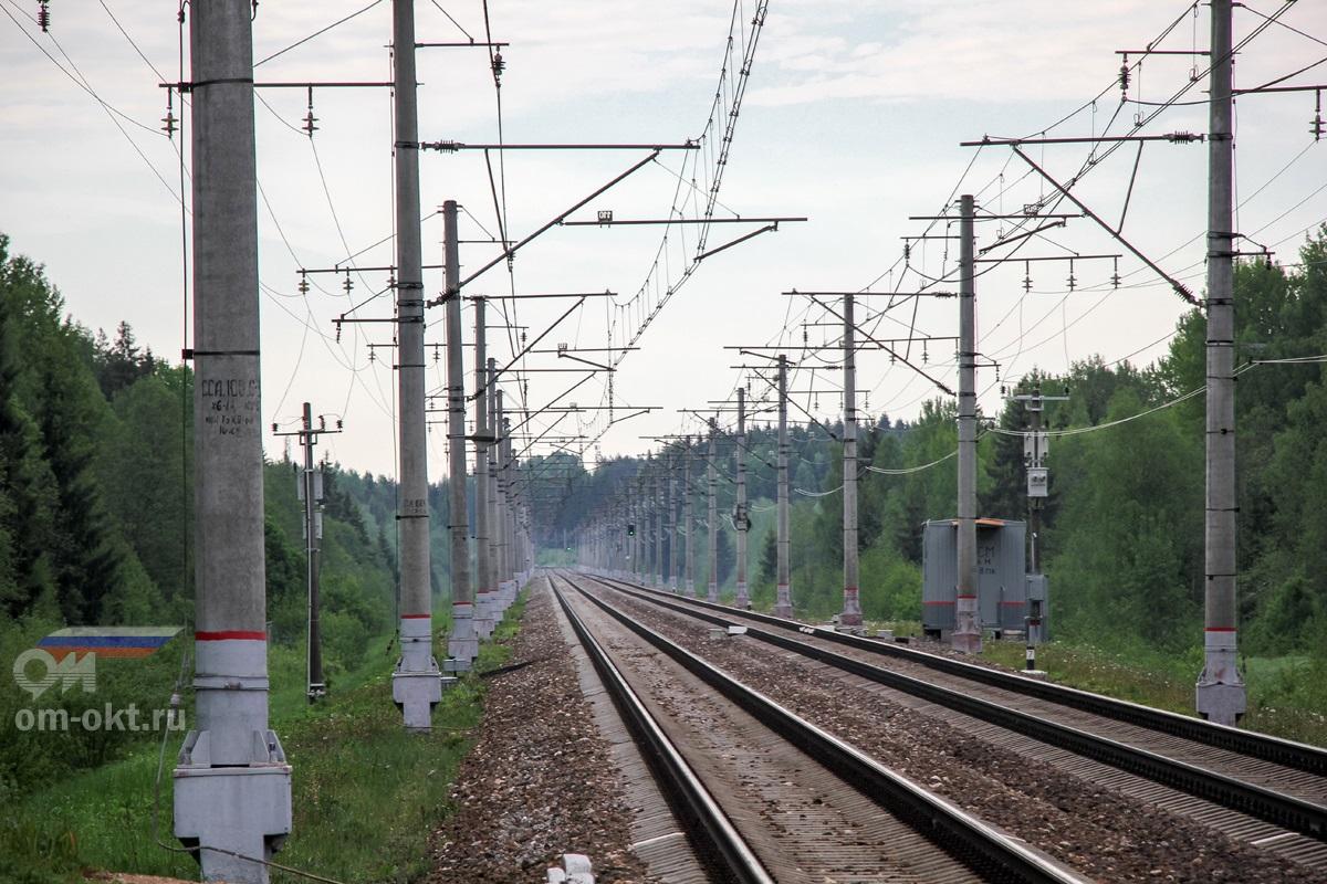 Вид от платформы Заключье в сторону станции Алёшинка