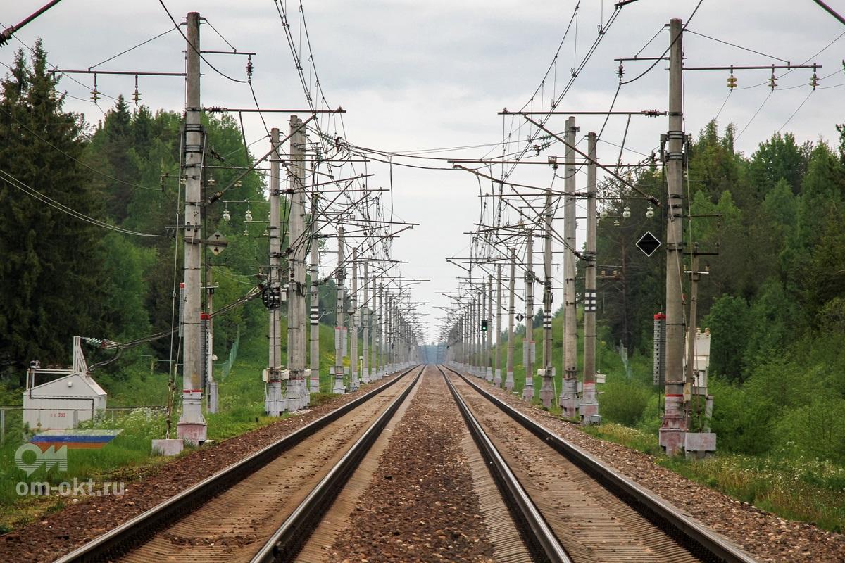 Вид от платформы Заключье в сторону станции Угловка