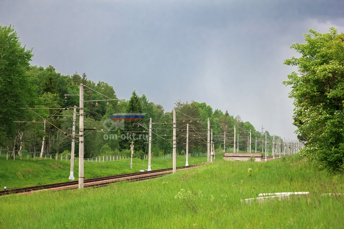 Вид от платформы Терелесовская в сторону станции Елизаровка