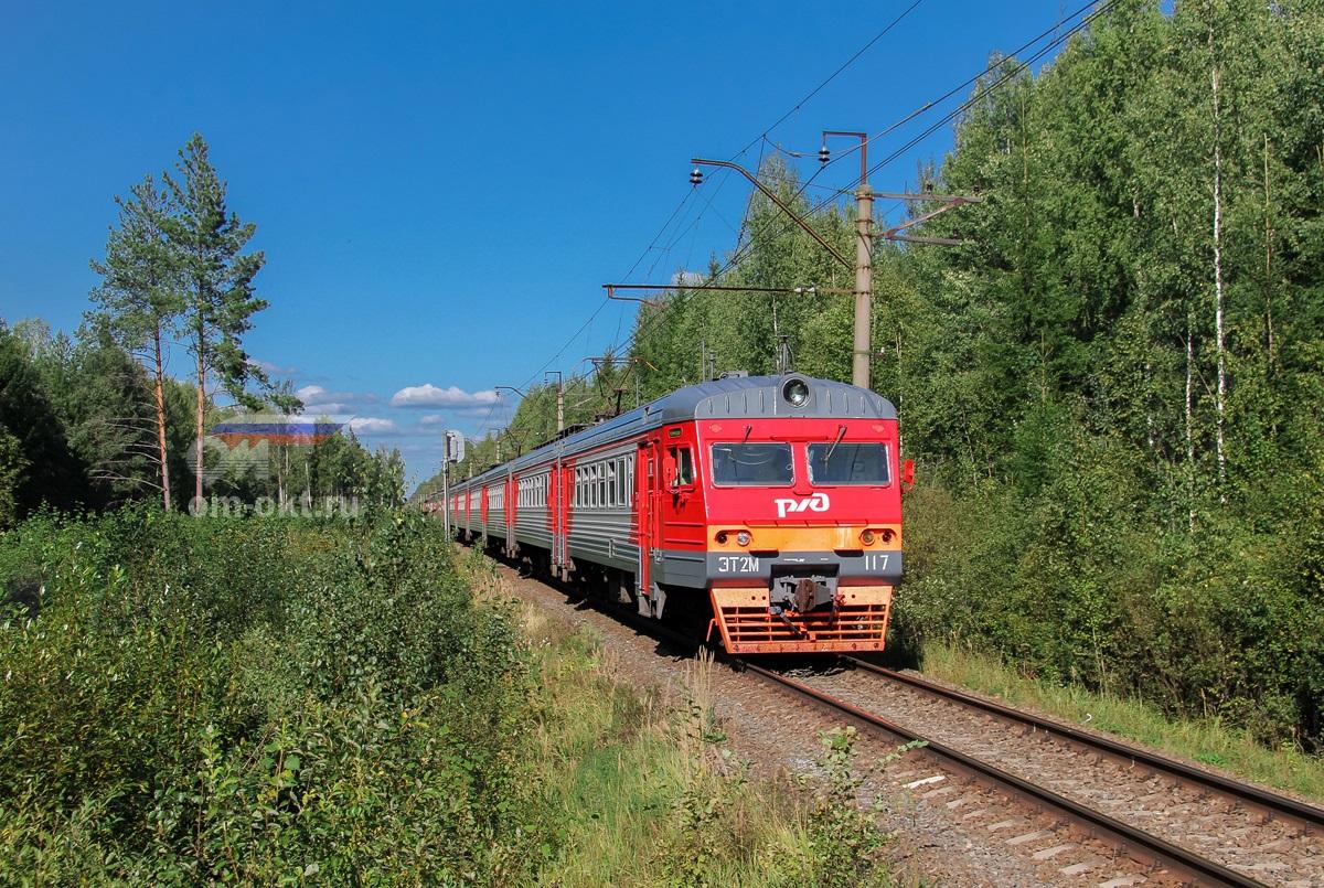Электропоезд ЭТ2М-117 на перегоне Конаково ГРЭС - Конаковский Мох