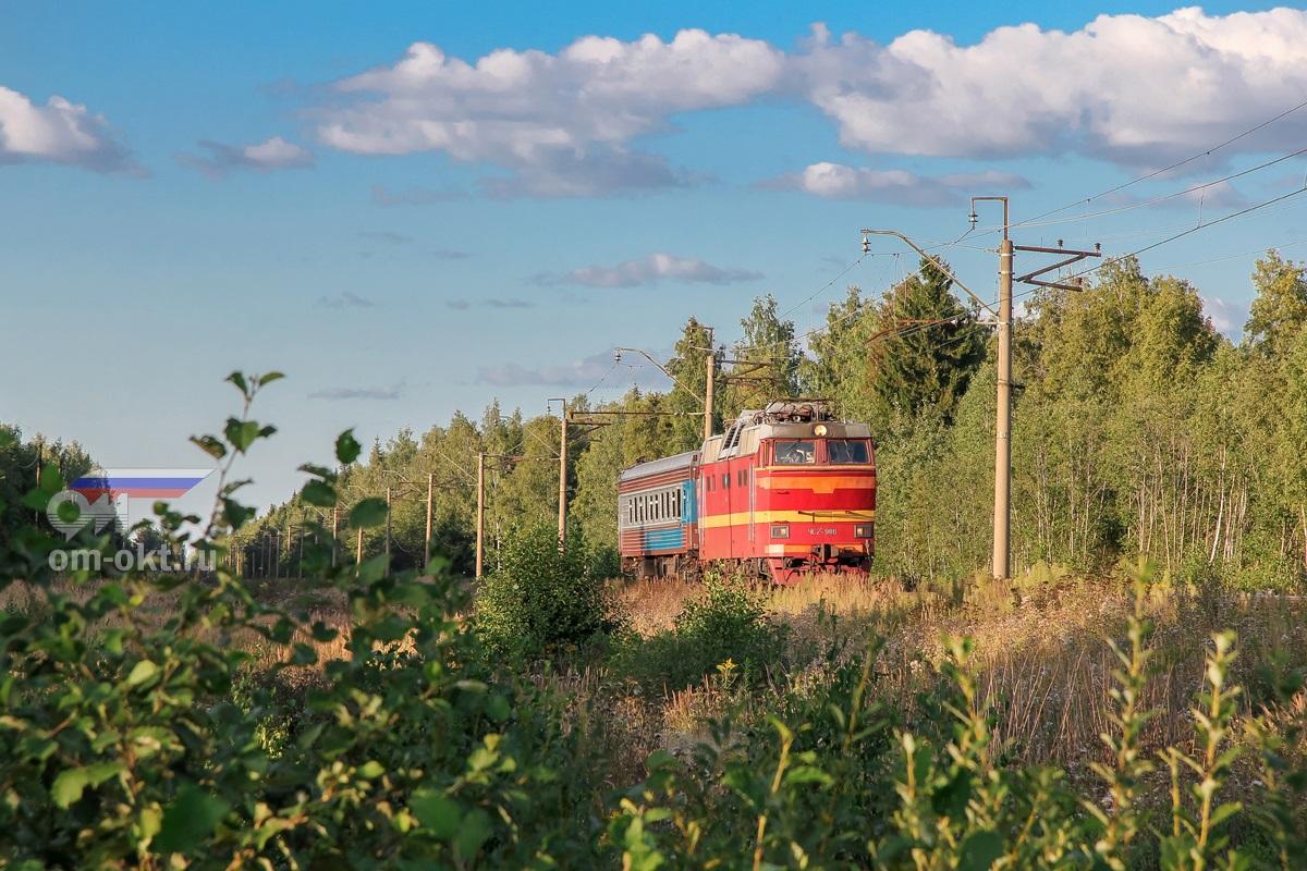 Электровоз ЧС2Т-986 с вагоном-путеизмерителем, перегон Конаково ГРЭС - Конаковский Мох