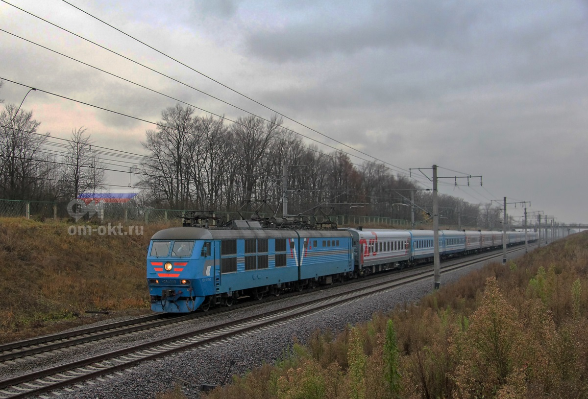 Электровоз ЧС6-008 с пассажирским поездом №267 на перегоне Колпино - Саблино