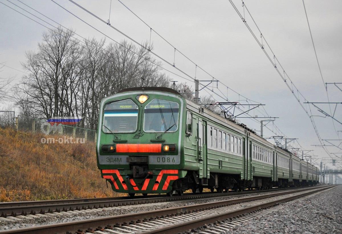 Электропоезд ЭД4М-0086 на перегоне Колпино - Саблино