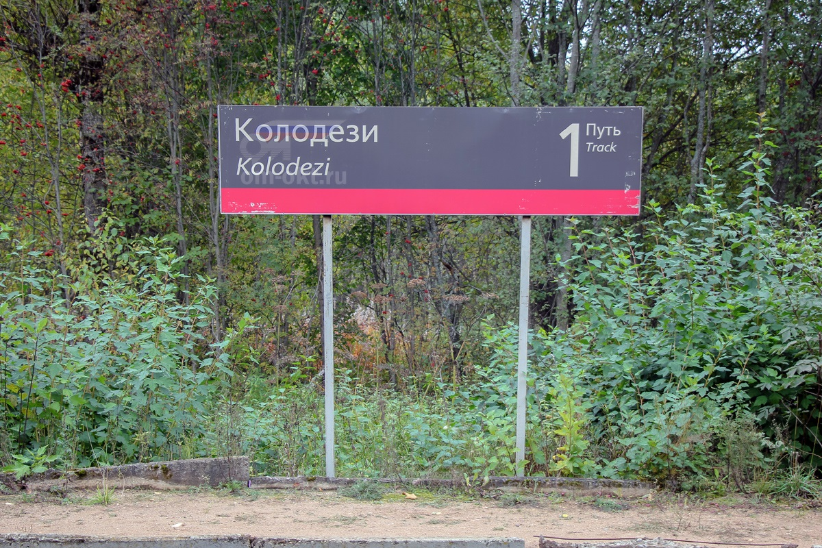 Табличка на платформе Колодези
