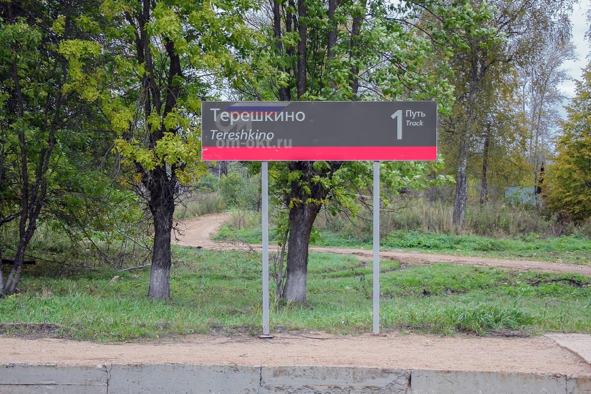 Платформенная табличка станции Терешкино