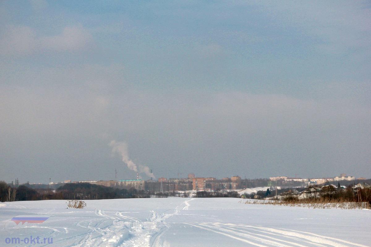 Вид на город Клин от платформы Стреглово