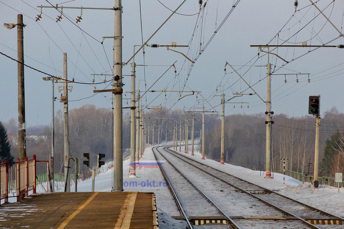 Вид от платформы Стреглово (Стриглово) в сторону станции Клин