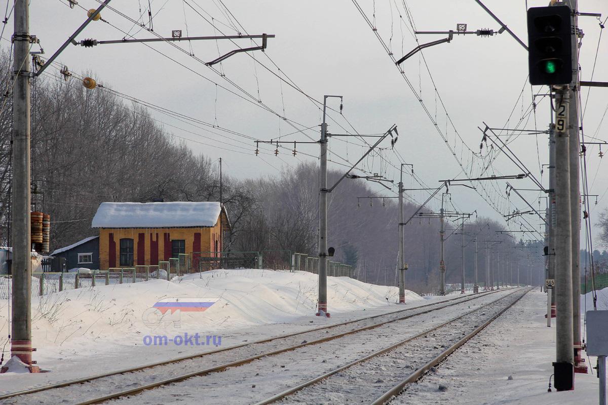 Вид от платформы Стреглово в сторону станции Подсолнечная