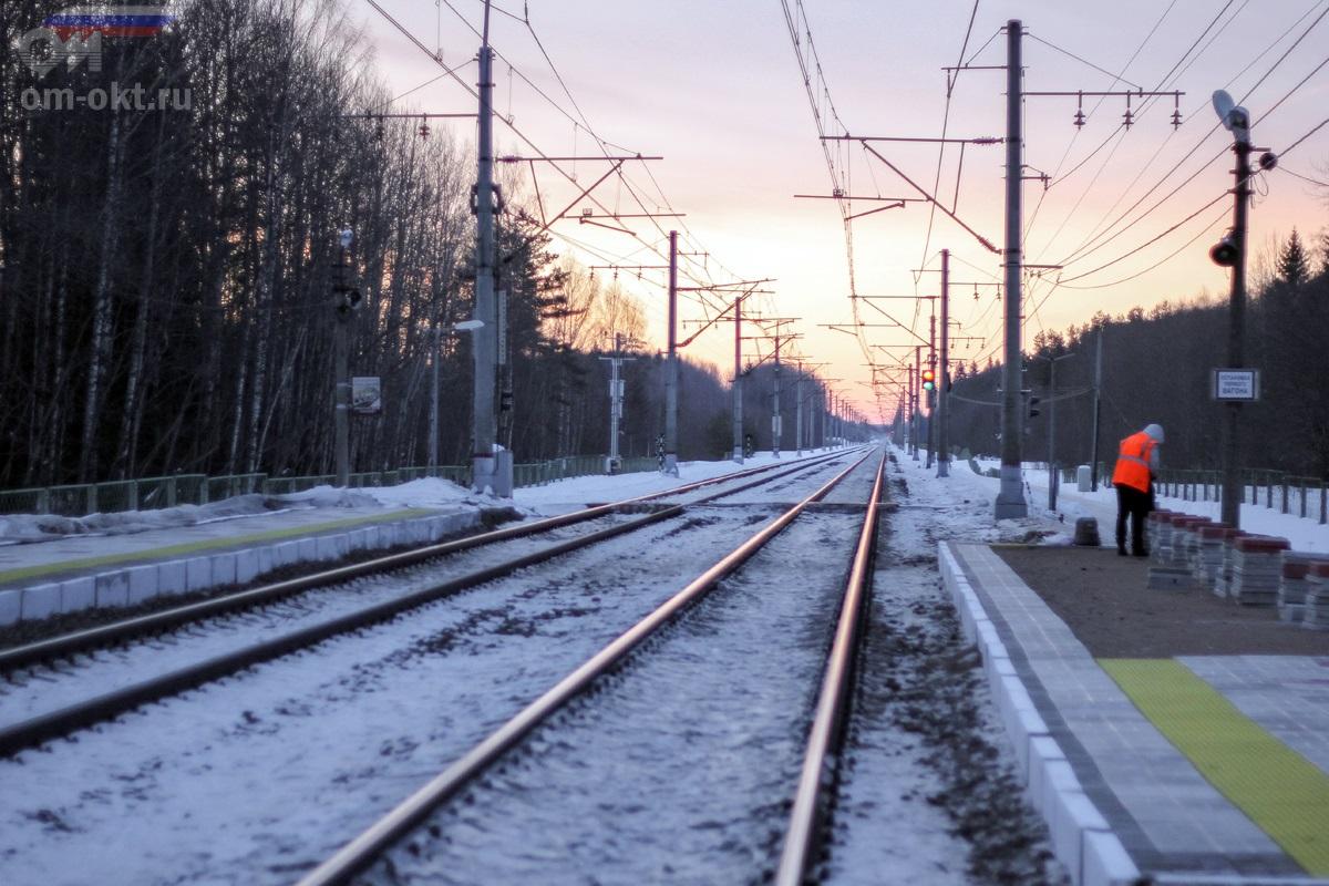Вид от платформы Петерсоновка в сторону платформы Бочановка