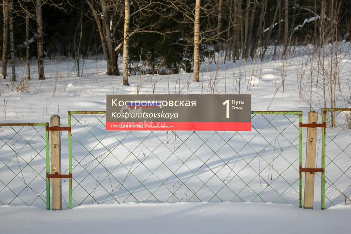 Табличка на платформе Костромцовская