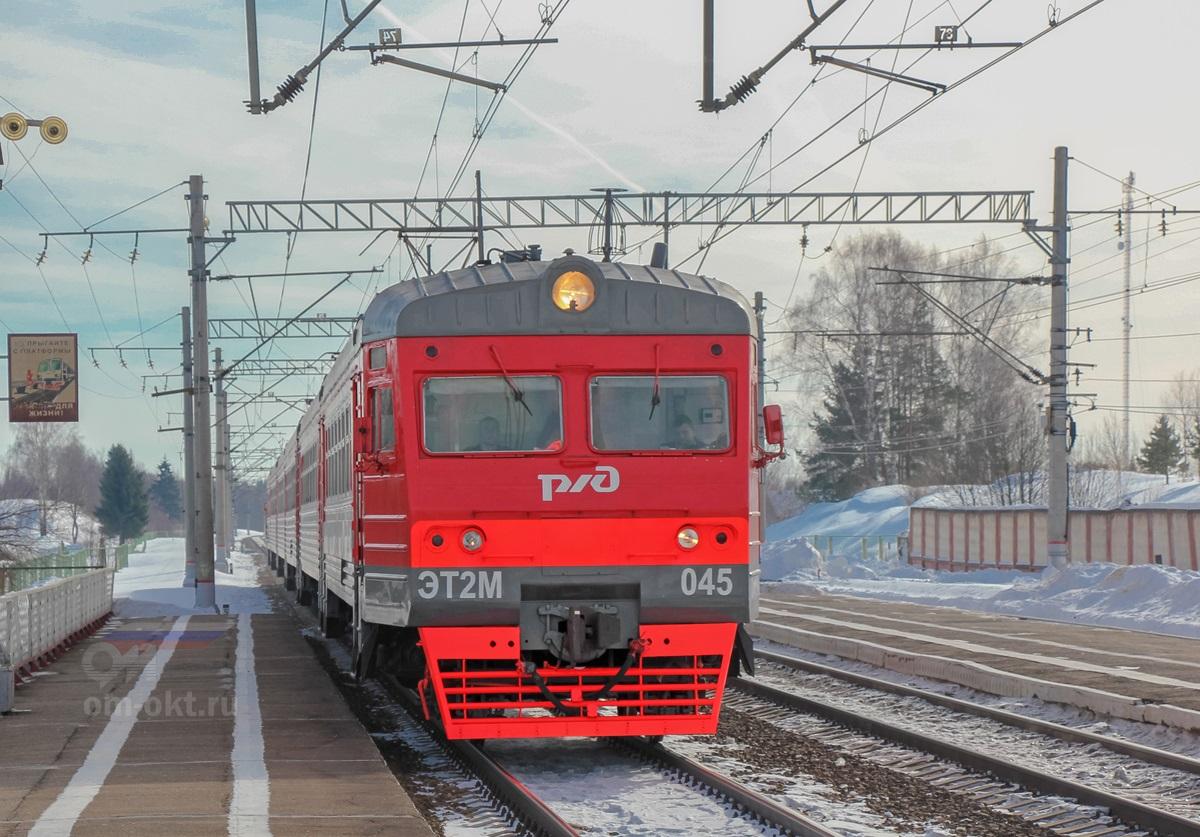 Электропоезд ЭТ2М-045 прибывает на станцию Академическая
