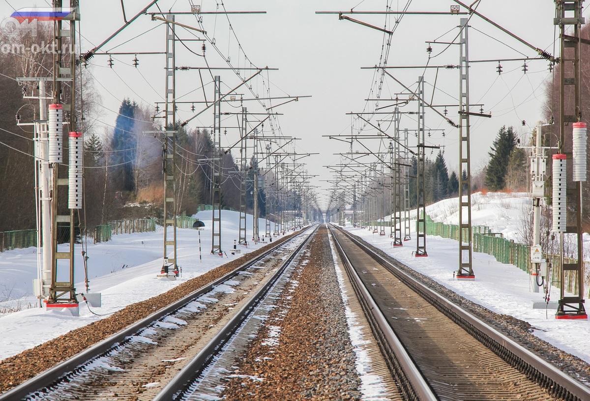 Вид от платформы Локотцы в сторону станции Калашниково