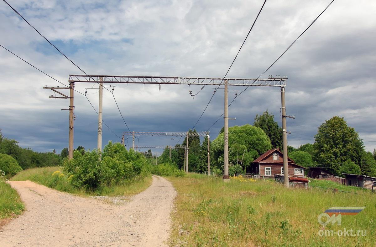 Вид от станции Оксочи в сторону станции Веребье