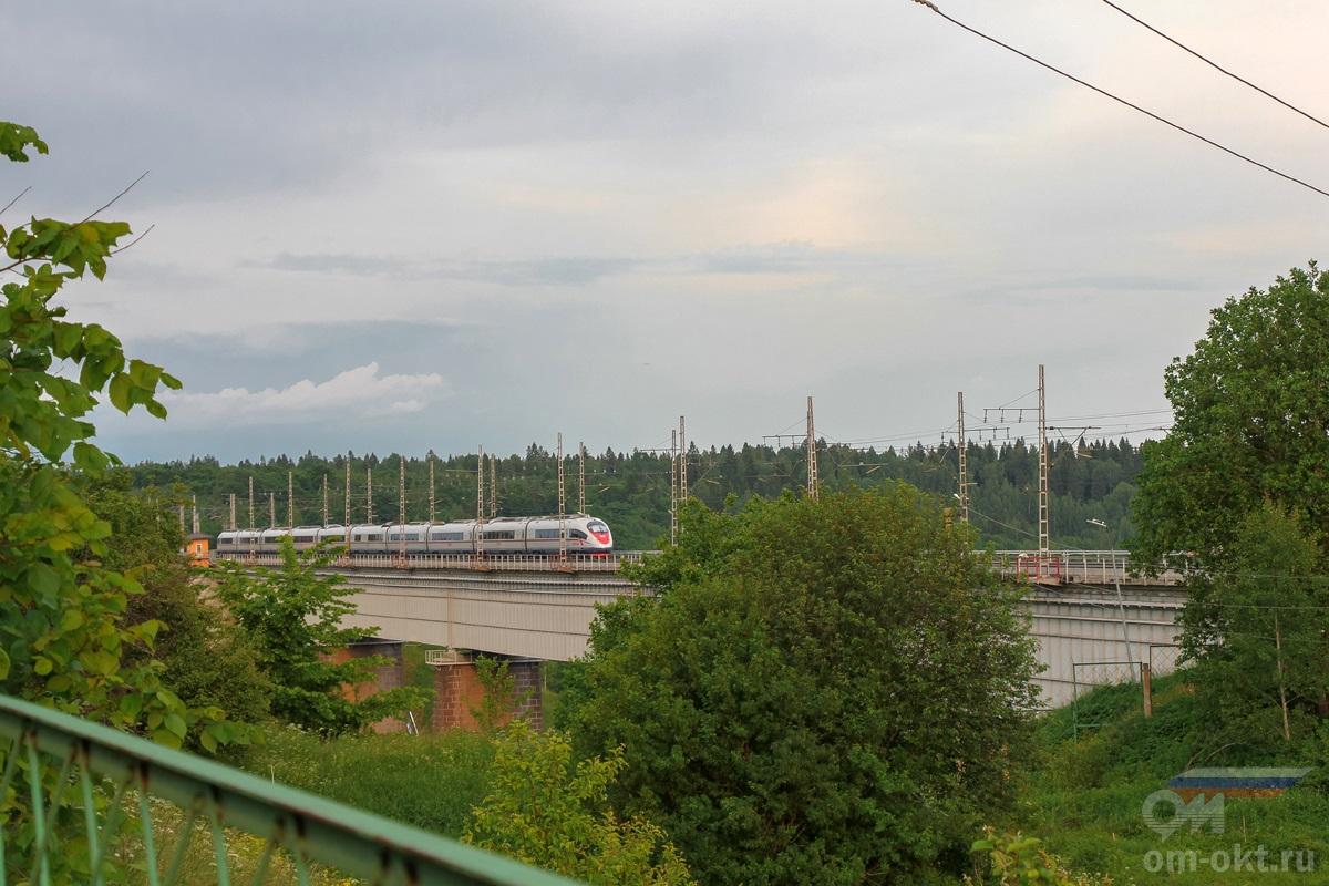 """Электропоезд ЭВС1 """"Сапсан"""" проследует Мстинский мост"""