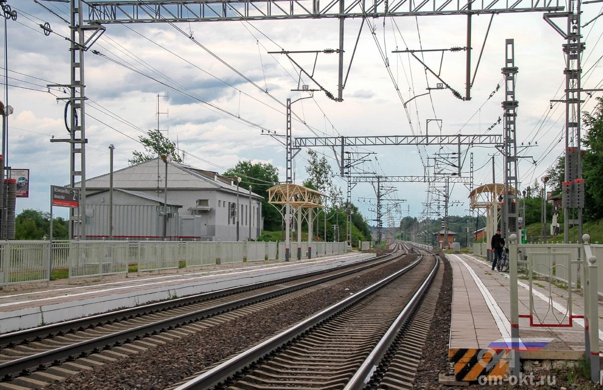 Пассажирский платформы станции Мстинский мост, вид со стороны Бурги  IMG_2680