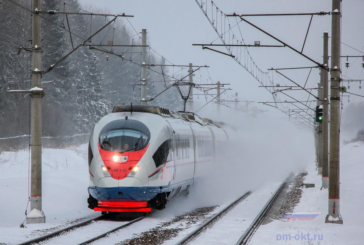 Электропоезд ЭВС1-15 «Сапсан» проследует платформу Черничная, перегон Завидово - Решетниково