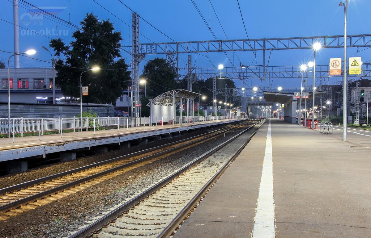 Вид на платформы №1 и №3 станции Сходня со стороны ст. Химки