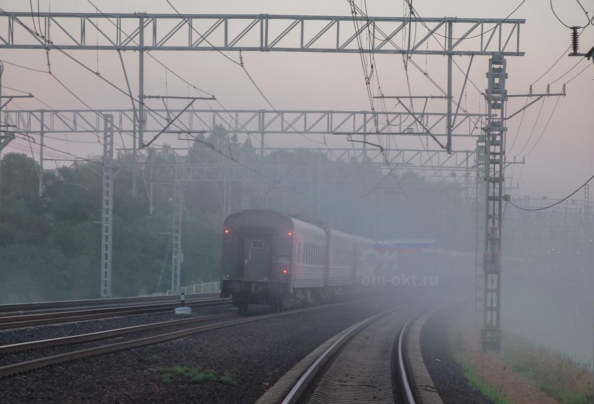 Скорый поезд заходит на станцию Сходня