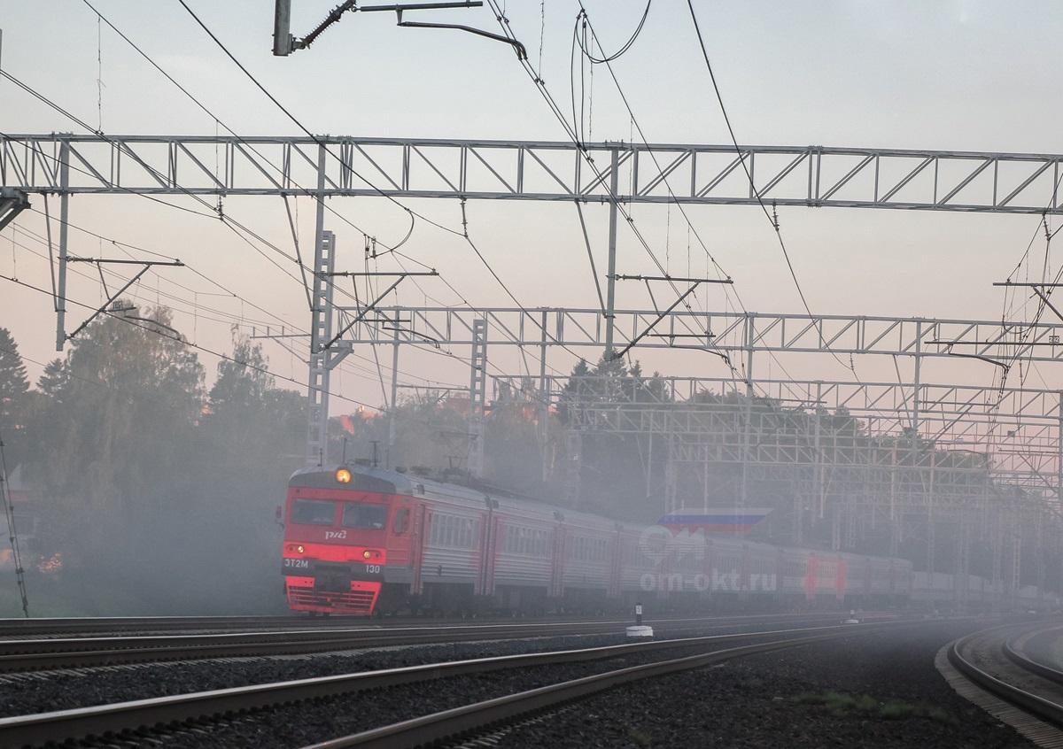 Электропоезд ЭТ2М-130 на перегоне Сходня - Химки