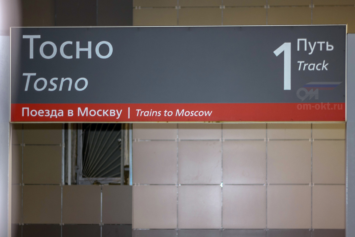 Табличка на пассажирской платформе станции Тосно
