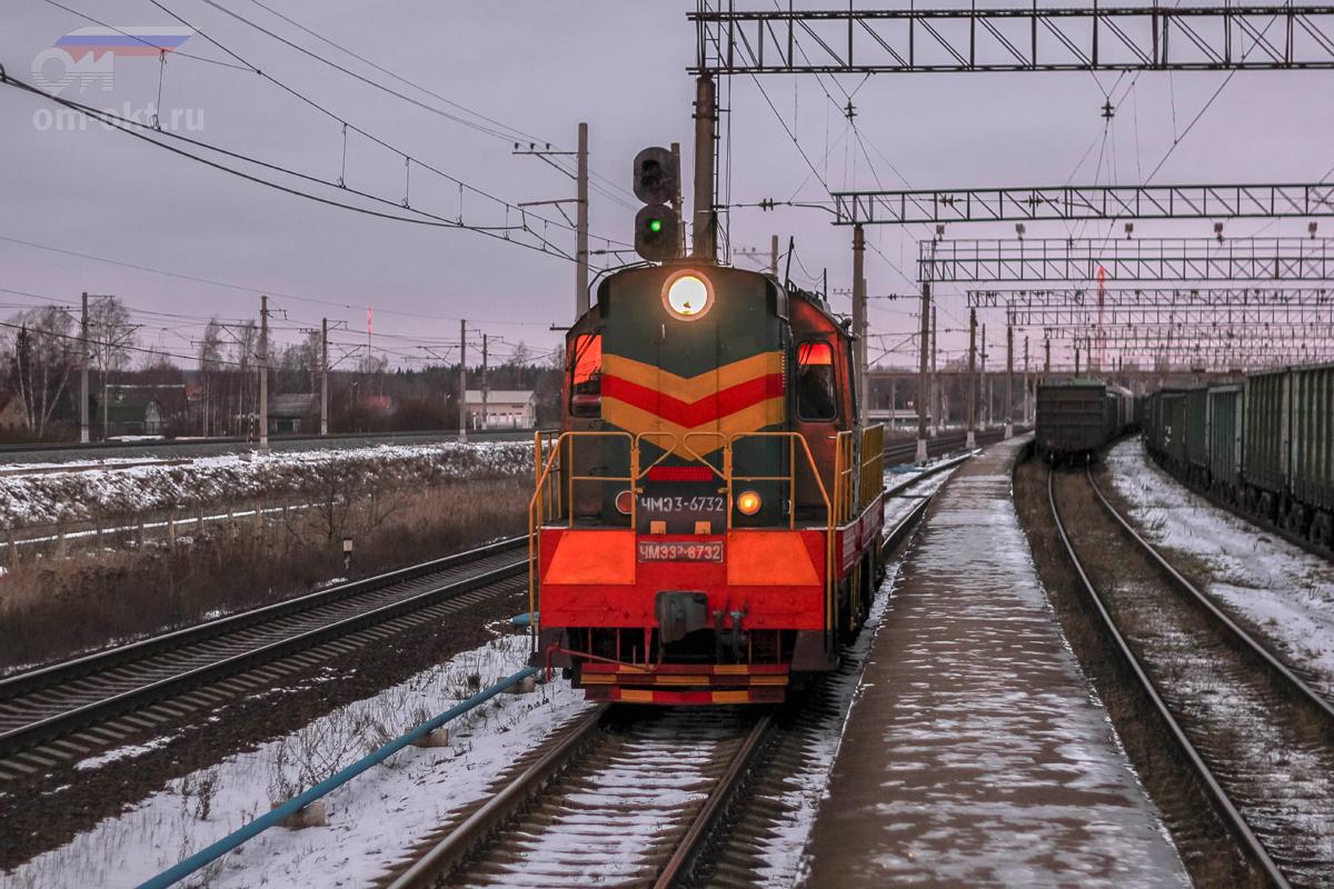 Тепловоз ЧМЭ3-6732 на станции Тосно
