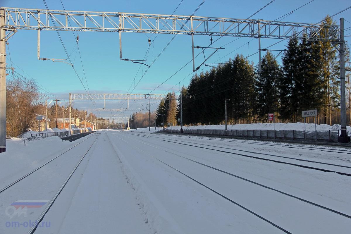 Вид на станцию Шлюз со стороны Лихославля