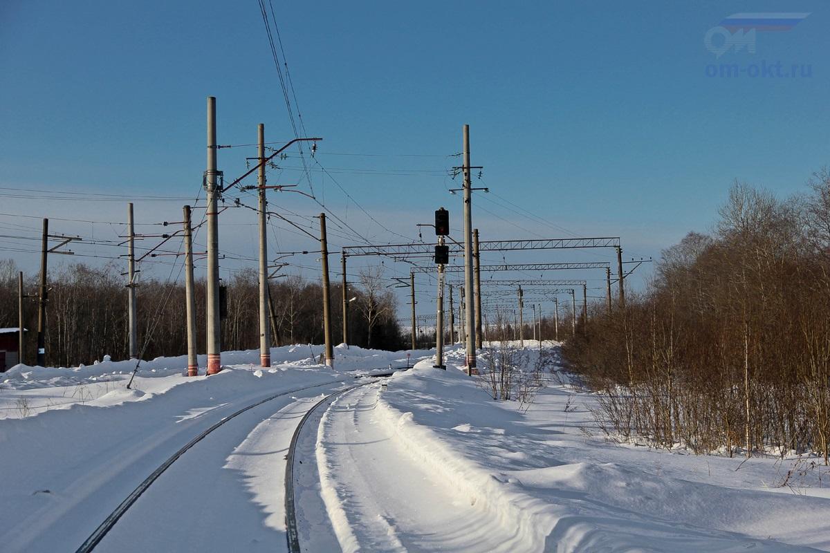 """Маршрутный светофор """"НМ43Б"""" в парк Виноколы со стороны парка Шлюз, ст. Лихославль"""