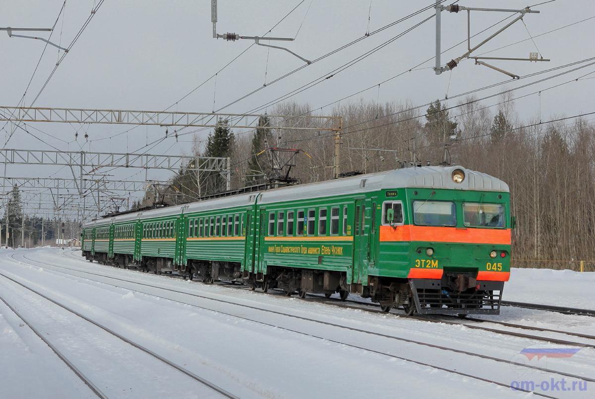 Электропоезд ЭТ2М-045 проследует парк Шлюз станции Лихославль